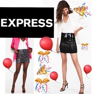 NWOT EXPRESS, Black Sequins Party Mini Skirt